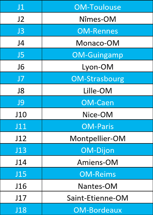 Calendrier Des Matchs De Lom.L1 Le Calendrier Om 2018 19 Massalialive Com